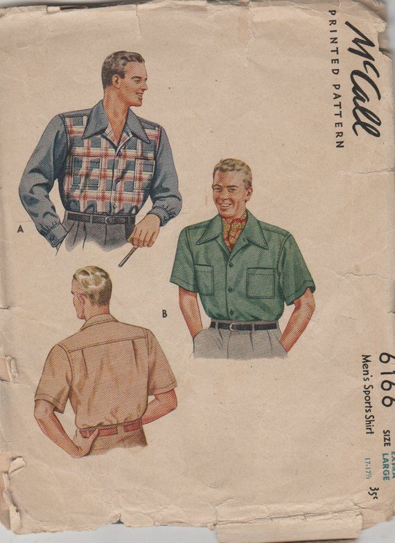 Mccall S 1940 S Vintage Mens Xl Pattern 6166 Mens Shirt Pattern