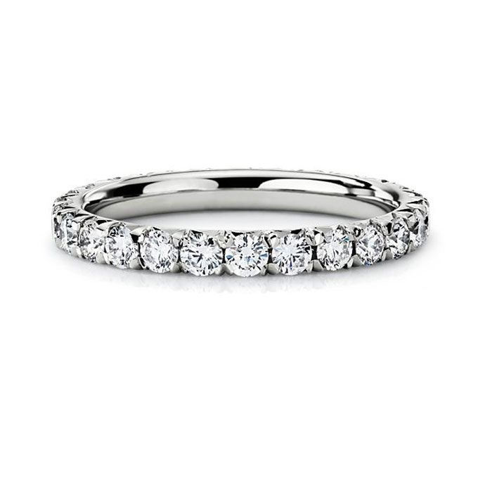 Brides.com: Platinum Wedding Rings for Women. Style 17388, french pavé diamond eternity ring in platinum, $2,950, Blue Nile See more Blue Nile wedding rings.