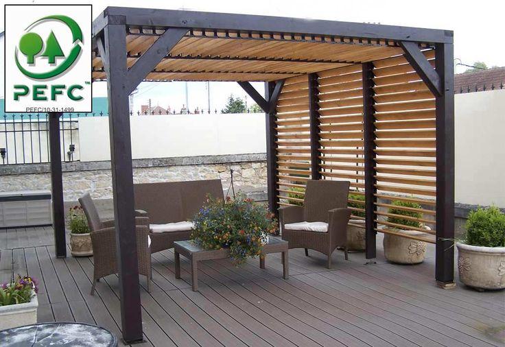 Une nouvelle pergola de chez Habrita est arrivée chez Mon Aménagement Jardin. Cette pergola tout en bois est construite à partir de sapin et d'épicéa certi