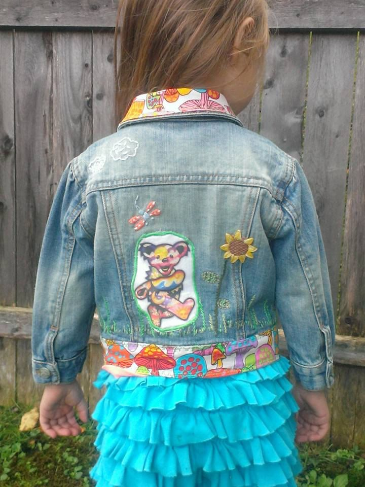 Get Down Upcycled Grateful Dead Dancing Bear Mushroom Sunflower Hippie Boho Toddlers kids baby Denim Jacket, size 2T, FREE gift wrap option by jamnjellybeans on Etsy