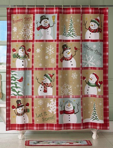 Snowman Snow Time Country Shower Curtain