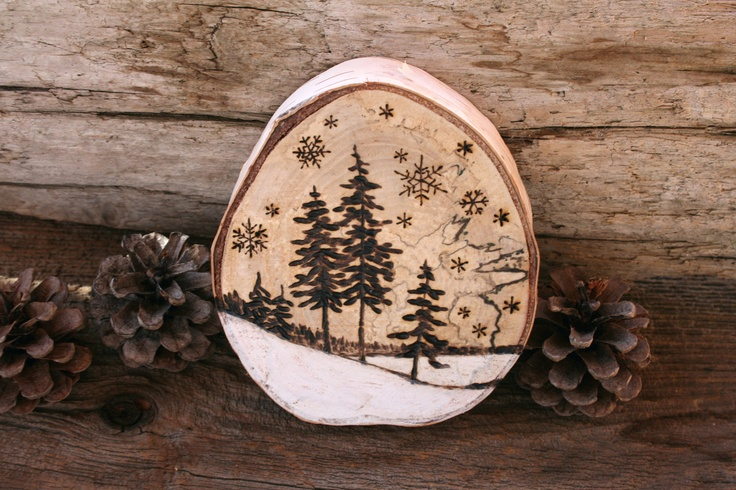 Original Woodburning Art on Large Birch Round