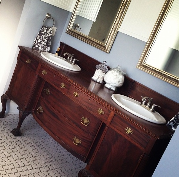 Master Bath Diy Buffet Turned Double Vanity To See More