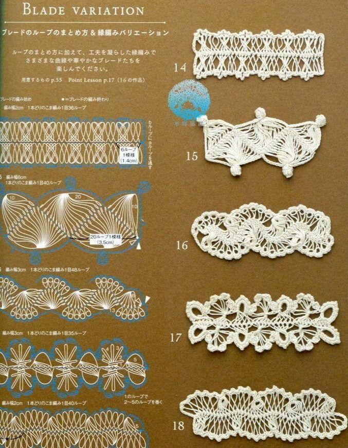 Ivelise Feito à Mão: Tirinhas Em Crochê De Grampo...interesting hairpin borders with very clear diagrams......