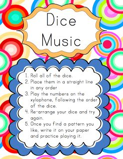 Centers: Dice Music | Elementary Music Resources- Change to actual pitches- they play it then write down the pattern they like