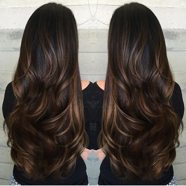 Brunette with caramel ribbons. LOVE THIS. Color by @harttofcolor #hair #hairenvy…                                                                                                                                                                                 More