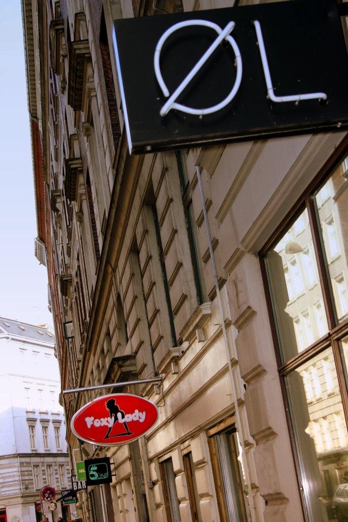 Store signs on Elmegade, Nørrebro. Copenhagen, Denmark