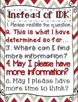 "Instead of I Don't Know (""IDK"") Poster"