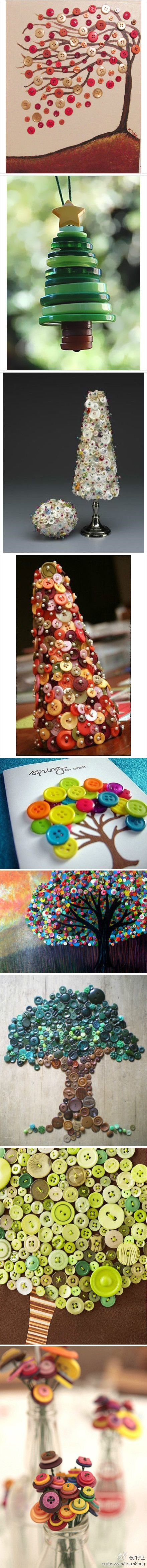 Button Crafts! Love the button tree ornament