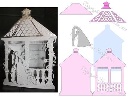 Wedding Gazebo Card Template No 2 on Craftsuprint designed by Tina Fallon - Wedding Gazebo Card Template No 2Gazebo shaped card template, complete with insert and elements to layer up - Now available for download!