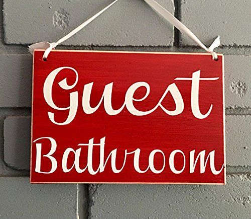 Guest Bathroom 8x6 Choose Color Bathroom Restroom Outhouse Washroom Rustic Custom Office Hotel Spa Welcome Door Plaque Hanger ** You can get more details by clicking on the image. (This is an affiliate link and I receive a commission for the sales)