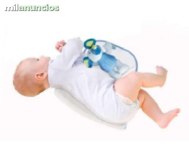 . Se trTae un calido mu�eco y unz esponja que permite al bebe estar recostado de lado evitando asi el ahogo, y perm7tiendo la tranquilidad de los padres ya que este sistema no permite al bebe giranse boca arriba, recomendado por los pediatra s no lo dudes y
