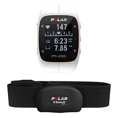 Polar M400 Montre Cardio/GPS Multisport avec Ceinture Cardiaque Blanc: Ecran haute définition 128 x 128 Tracking de l'activité 24/7, pas,…