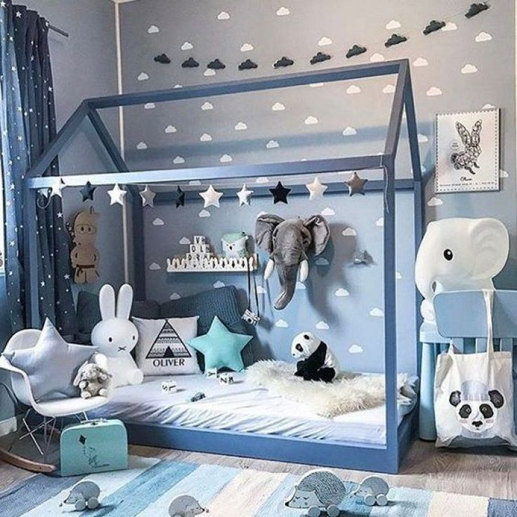 Cute Blue Kids Room With Stuffed Animals