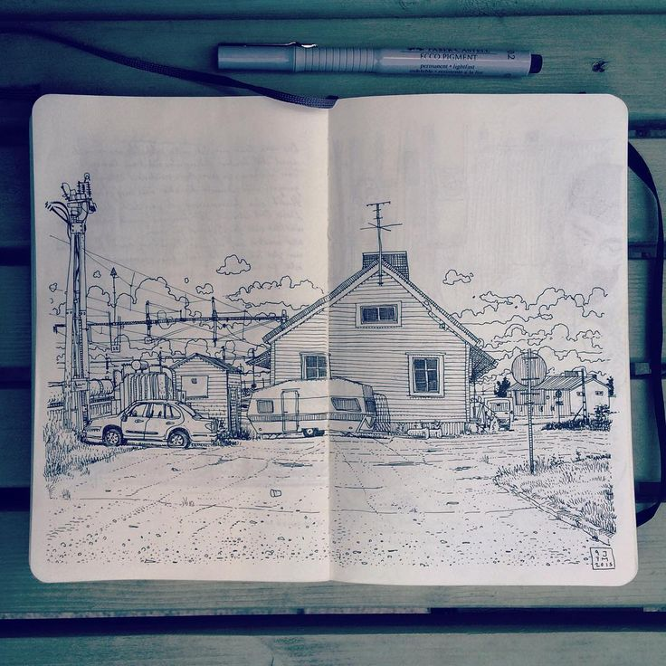 Waiting in the remote mining town Gällivare for the night train. Drawing the old train station in my #moleskine #sketchbook On the way with @brggr & @patatinotoolate in #Sweden #Lappland #Gällivare #3mützimbitz
