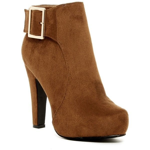Elegant Footwear Furry Buckle Platform Bootie ($45) ❤ liked on Polyvore featuring shoes, boots, ankle booties, ankle boots, camel, platform boots, platform buckle boots, camel ankle boots and platform booties