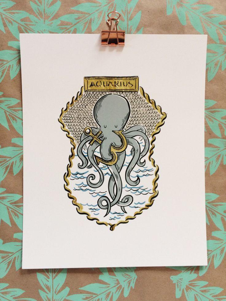 Signs of the Zodiac | Aquarius Illustration 8 x 10 Art Print by OliveandCoStudio on Etsy https://www.etsy.com/listing/489997443/signs-of-the-zodiac-aquarius