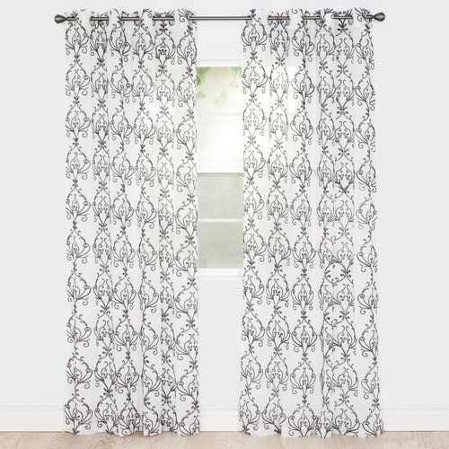 Found it at Wayfair - Victorian Vase Embroidered Damask Semi-Sheer Grommet Single Curtain Panel