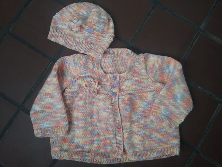 Apricot multi coloured cardigan & hat :)