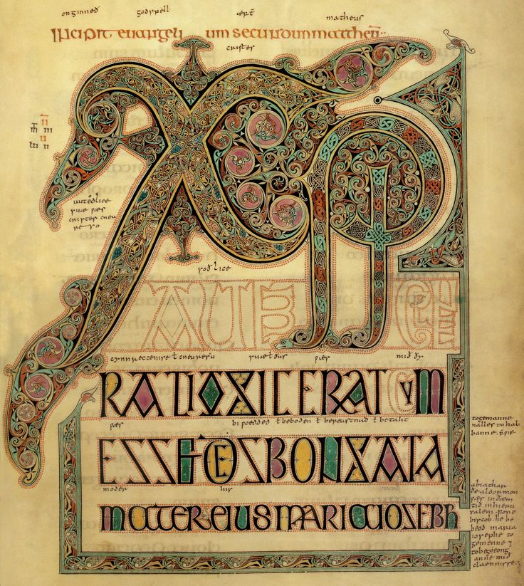 """Chi-Rho initial from the incipit of the so-called ""Christmas Gospel"", in St Matthew"", Lindisfarne Gospels, 715-25, made by Eadfrith in the monastery of LIndisfarne."