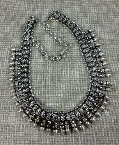 Silver India Necklace...Vintage traditional tribal India necklace. $235.00, via Etsy.