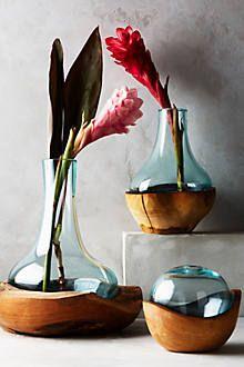 Teak & Bottle Bud Vase