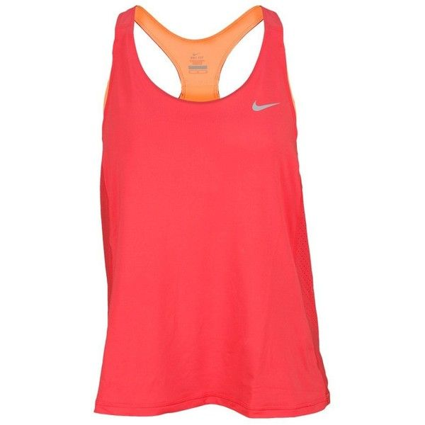 Nike Tank Pink ($23) ❤ liked on Polyvore featuring activewear, activewear tops, nike, nike shirts, nike sportswear, red shirt and nike activewear