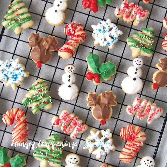 Christmas Spritz Cookies - snowman, snowflakes, trees, holly, reindeer, and candy canes