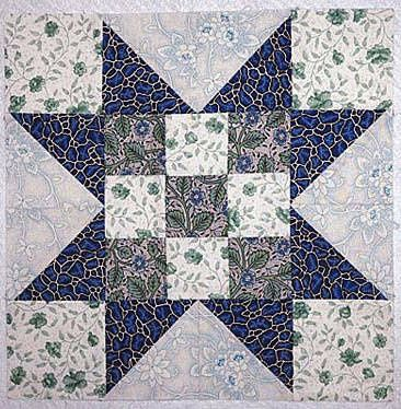 ~ Evening Star Quilt Block with Nine-Patch Centers.