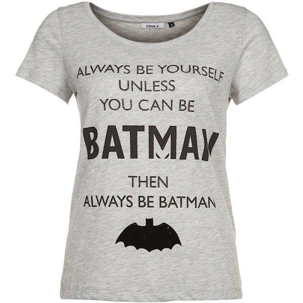 ONLY BATMAN Print Tshirt (460 MXN) ❤ liked on Polyvore featuring tops, t-shirts, shirts, batman, grey, pattern shirt, gray tee, print tee, t shirts and grey top