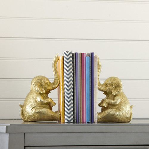 Features:  -Set includes 2 book ends.  -Material: Resin.  Product Type: -Decorative.  Style: -Tropical/Nautical.  Subject: -Reptile and amphibians.  Theme: -Animals.  Life Stage: -Kids.  Color: -Gold.