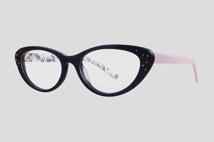 #Brillen van Reor. Dit is de Blondelle (art. nr. F10.661FPU), complete bril vanaf € 39.90. #Montuur van zwart met lichtpaars acetaat. Verkrijgbaar in meerdere kleuren.