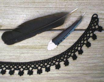 Hand crochet necklace choker / Victorian style fiber necklace