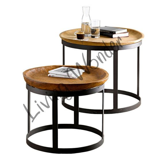 Vintage Style Industrial Coffee Table End Table Wooden Nested Table  Industrial Tray Table Set Of 2