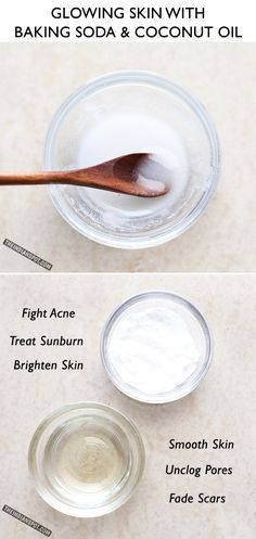 Glowing skin with Baking Soda and Coconut Oil Face Wash | THEINDIANSPOT-We are all aware of coconut oil and baking soda benefits! These two ingredients are commonly used in skincare since they are easily/readily available, and they work great either individually or together. A simple baking soda and coconut oil scrub can clean your skin, kill a wide variety of potentially destructive pathogens and make you feel a lot better. Here is a DIY face/body scrub along with...