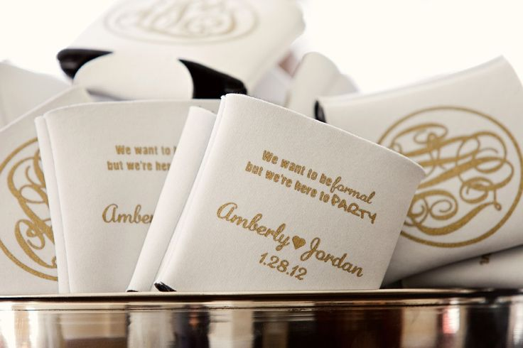 Every southern wedding needs a bowl of koozies! 'We want to be formal, but we're here to party!'