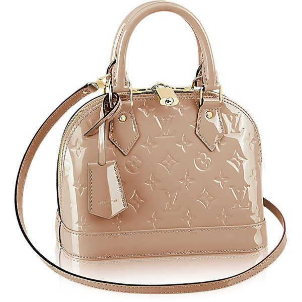 Alma BB Monogram Vernis Leather ❤ liked on Polyvore featuring bags, handbags, shoulder bags, handbags totes, monogrammed leather tote, leather purses, genuine leather tote and leather tote handbags