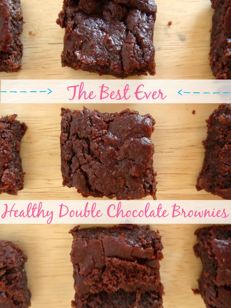 These brownies are gluten-free, egg-free and only 116 calories each! Get the #recipe here: http://pinkrecipebox.com/the-best-ever-healthy-double-chocolate-brownies/
