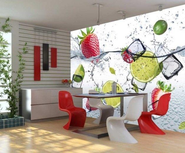 Per ravvivare la cucina non c'è niente di meglio di una carta da parati con frutta succulente! Questa decorazione moderna porterà nello spazio una soffiata di freschezza :) #cartadaparati # cartedaparati #cartadaparaticolorata #decorazionimurali #motividacucina #frutta #bimago