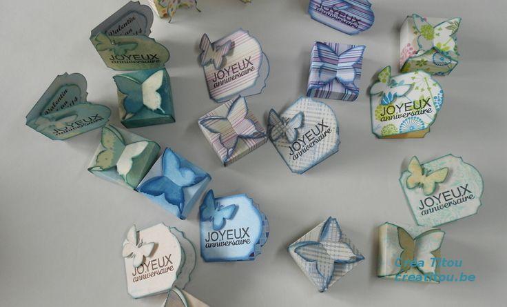 """Créa Titou au salon Creativa 2015 de Namur - Ateliers de scrapbooking pour enfants dès 8 ans - Crée ta propre boîte """"papillon"""" et sa carte"""