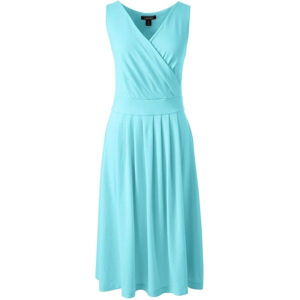 Lands' End Women's Petite Fit and Flare Dress (3.295 RUB) ❤ liked on Polyvore featuring dresses, green, blue dress, petite summer dresses, blue fit and flare dress, day summer dresses and fit flare dress