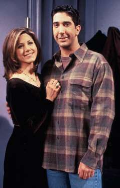 """"""" Ross Geller, played by David Schwimmer, and Rachel Green, played by Jennifer Aniston, were a great TV couple"""