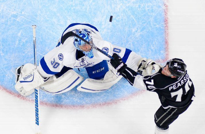 Los Angeles Kings Left Wing Tanner Pearson Right Tries To Score On Tampa Ba