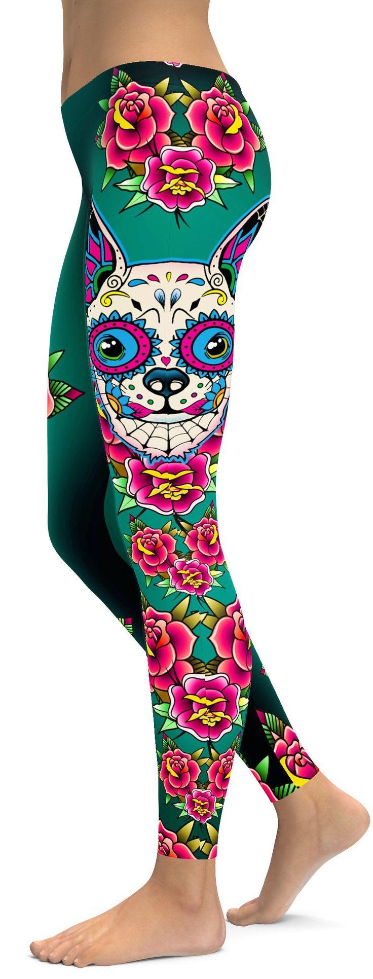 Sugar Skull Chihuahua Leggings