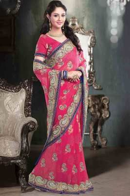 Pink georgette stone worked saree in purple velvet border Buy now @ Rs 12950