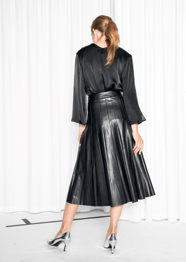 Other Stories image 3 of Faux Leather Pleats Skirt in Black
