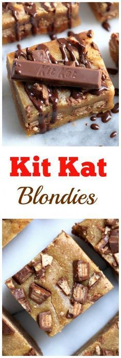 Oh YES!!! Kit Kat Blondies with a Chocolate Drizzle