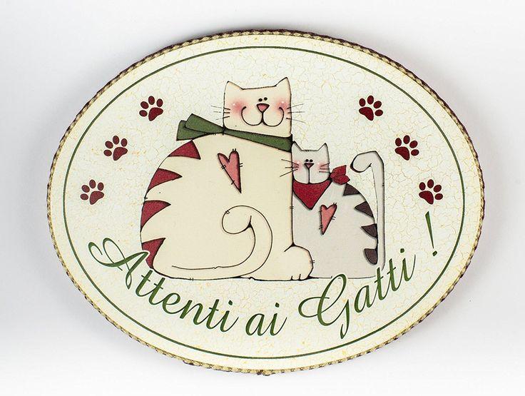 """targhetta ovale """"attenti ai gatti"""" idea regalo, artigianato italiano, made in Italy, con frase scritta, spiritosa, fuori stanza, bomboniere, targa porta, tavola country: Amazon.it: Casa e cucina"""