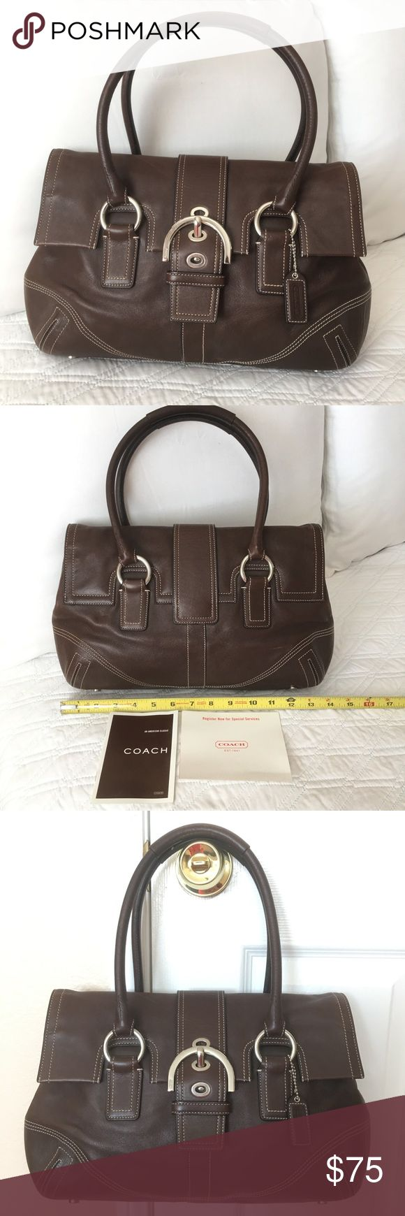 """Authentic Coach Leather Handbag AUTHENTIC! Beautiful and well made leather bag from Coach 💕 Approximate measurements: NOT EXACT 14"""" x  8 1/2""""  Strap drop is about 9"""" It has interior pockets. In good, used condition. NO TRADE❌ Coach Bags"""