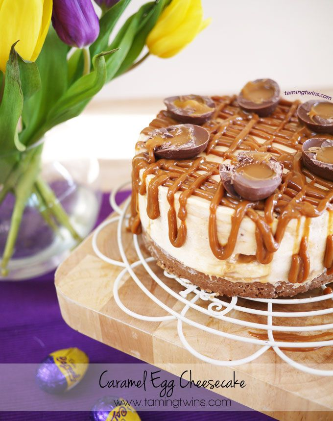 Cadbury's Caramel Egg Cheesecake | THE Easter pudding! Perfect dessert for Easter Sunday. http://www.tamingtwins.com